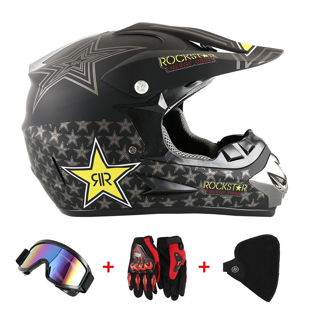 Casco da moto, motocross, cross, offroad, enduro, sport, con guanti, passamontagna e occhiali, 58-59 cm Enjoygoeu 6226126510016