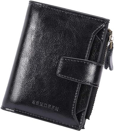 Women Genuine Leather Cowhide Wallet Trifold Card ID Holder Double Zipper Purse