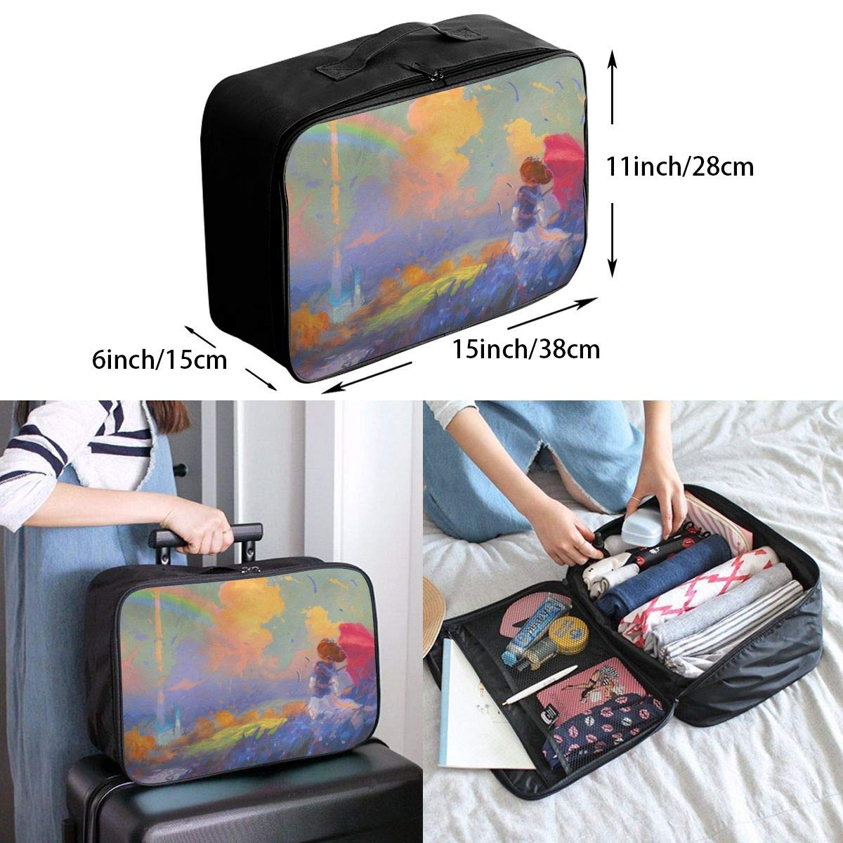 Lovely Girl And Beautiful Rainbow Travel Lightweight Waterproof Folding Storage Portable Luggage Duffle Tote Bag Large Capacity In Trolley Handle Bags 6x11x15 Inch