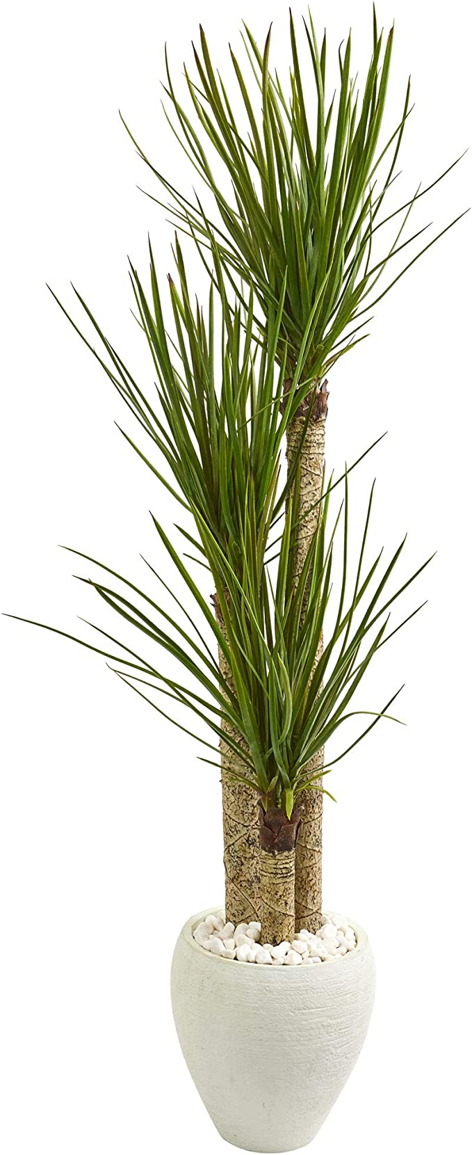 Nearly Natural 5 5 Ft Yucca Artificial White Planter Silk Trees Green Home Kitchen Amazon Com