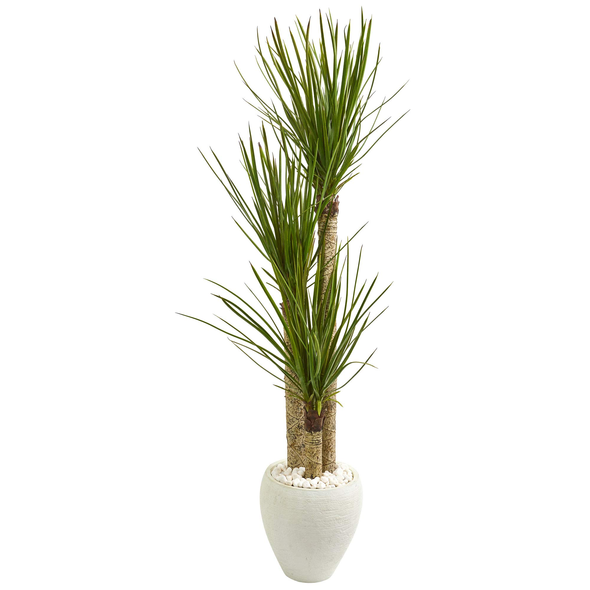 Nearly Natural 9304 5.5-Ft. Yucca Artificial White Planter Silk Trees Green by Nearly Natural