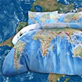 Sleepwish Polyester Microfiber World Map Printed 3-Pieces Bedding (Multicolour, Queen Sze)