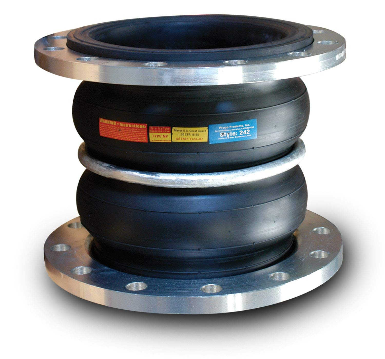 1.25X7 242A//EE Double Arch EPDM Spherical Expansion Joint with 150# Floating Flanges 242A Proco Products Inc 1.25 x 7