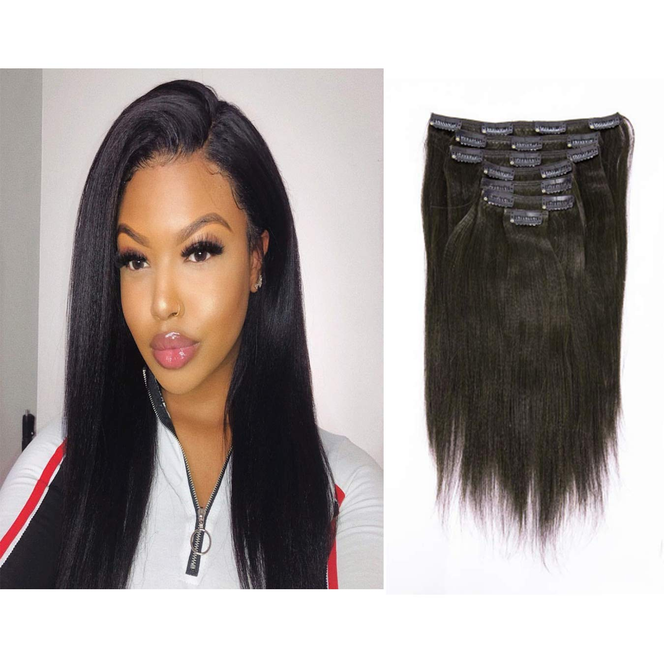 Italian Yaki Straight Hair Clip In Hair Extensions 100% Real Remy Human Hair 8A Grade Thick Virgin Hair Clip Ins 4C African Americans Full Head Natural Color For Black Women 7pcs/set 120g/set 10 Inch by Loxxy