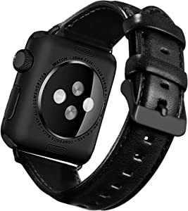UMAXGET Compatible with Apple Watch Series 4 Band 38/40MM Series 5, Classic Genuine Leather Replacement Strap with Black Buckle Connector Compatible with iWatch Series 3/2/1 Men Women, Black