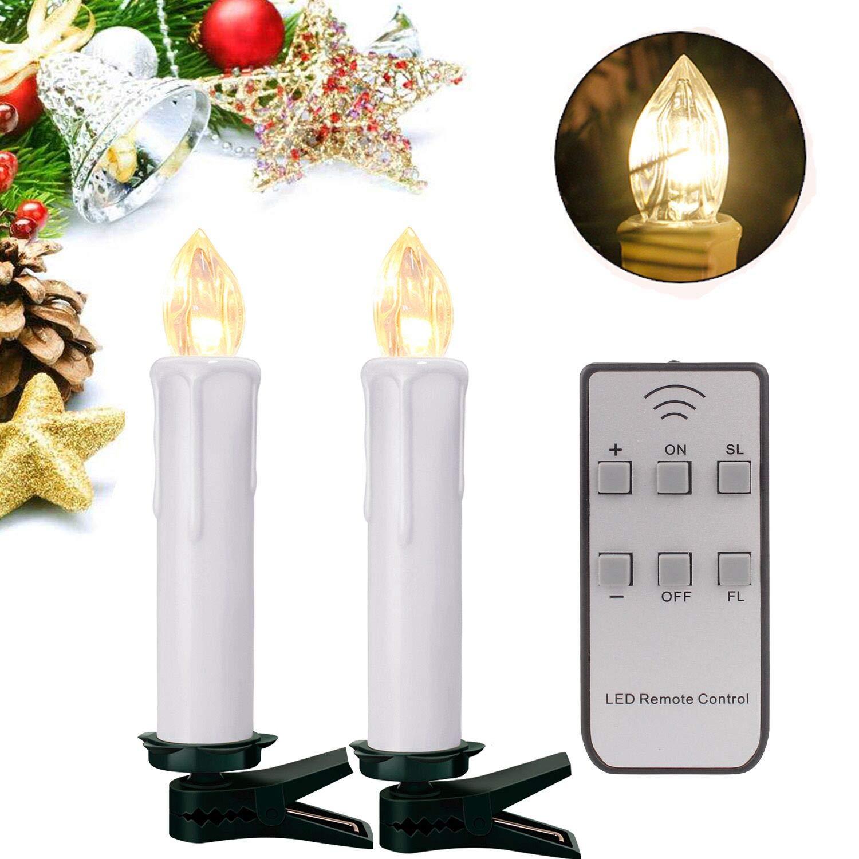 YAOBlauSEA 50stk Weinachten LED Kerzen Lichterkette Kabellos Weihnachtskerzen Christbaumschmuck Weihnachtsbaumbeleuchtung mit Fernbedienung Kabellos für Weihnachtsbaum Weihnachtsdeko Hochzeit