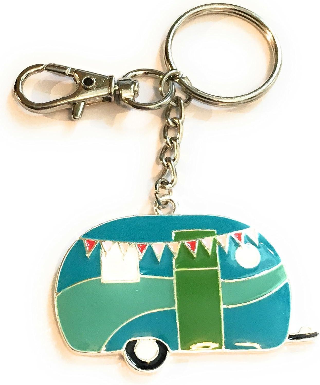 Fizzybutton Geschenke Turquoise Emaille Wohnwagen Taschencharme Schlüsselanhänger Bekleidung