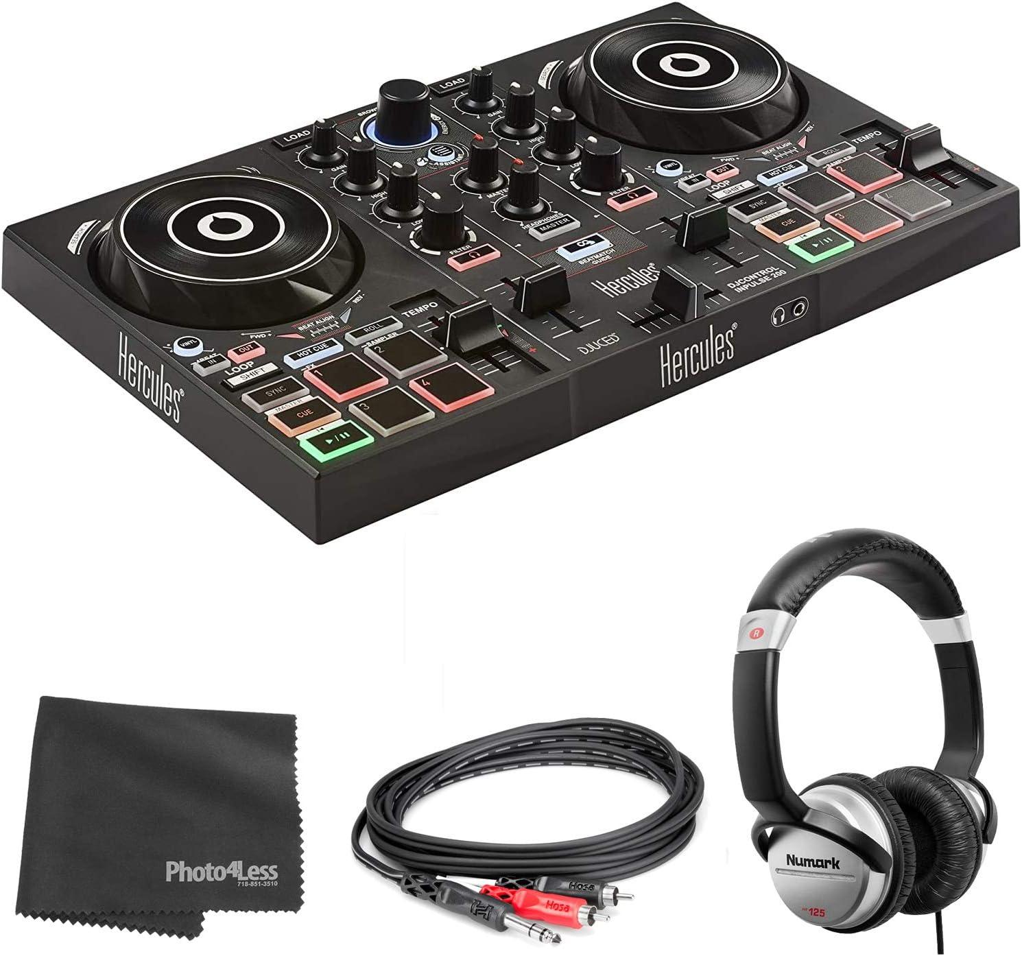 적 INPULSE200|USB DJ 컨트롤러 BEATMATCH 가이드+프 HF125 전문 DJ 헤드폰+HOSA TRS 케이블+청소 피복