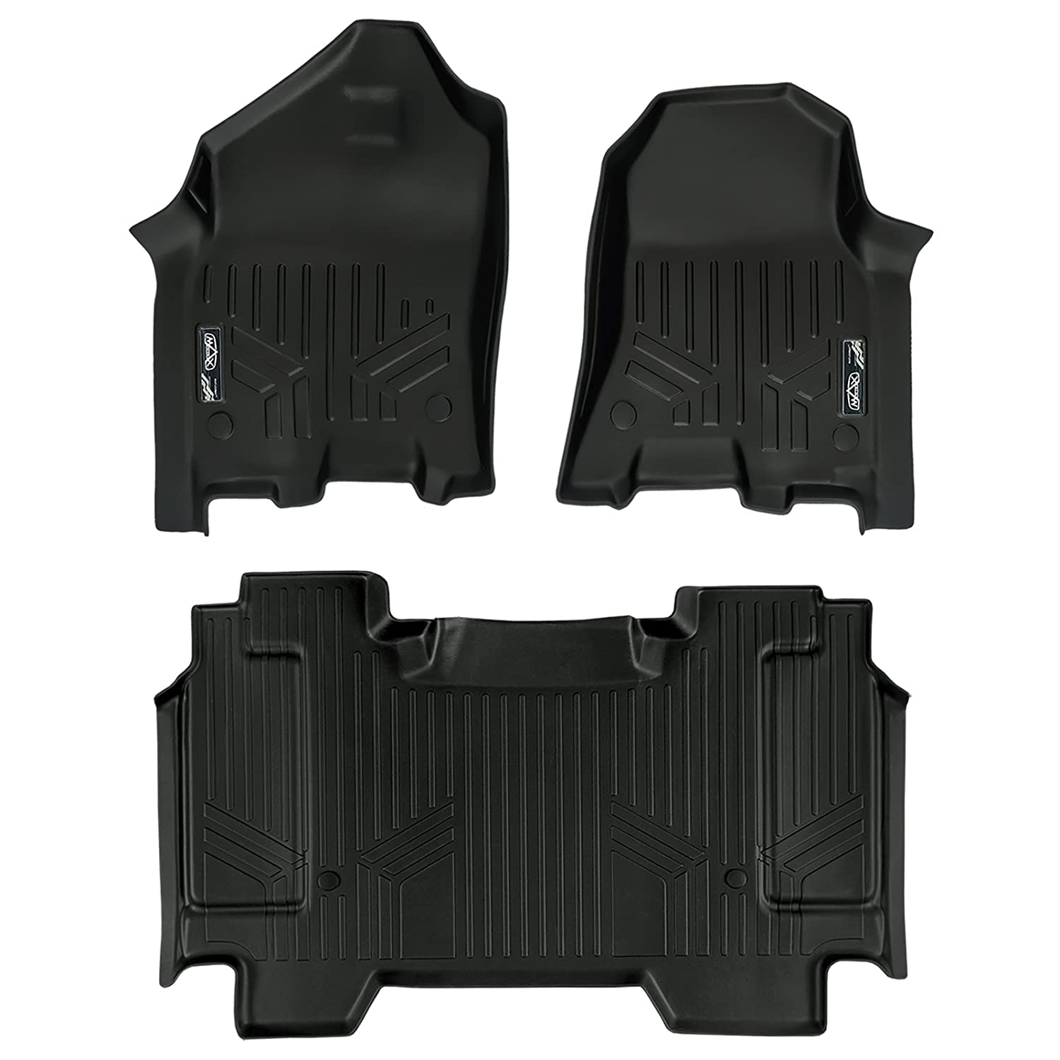 SMARTLINER Floor Mats 2 Row Liner Set Black for 2019 Ram 1500 Crew Cab with 1st Row Captain or Bench Seats MAXLINER A0369/B0369
