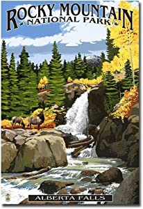 "Alberta Falls Rocky Mountain National Park Travel Art Refrigerator Magnet Size 2.5"" x 3.5"""