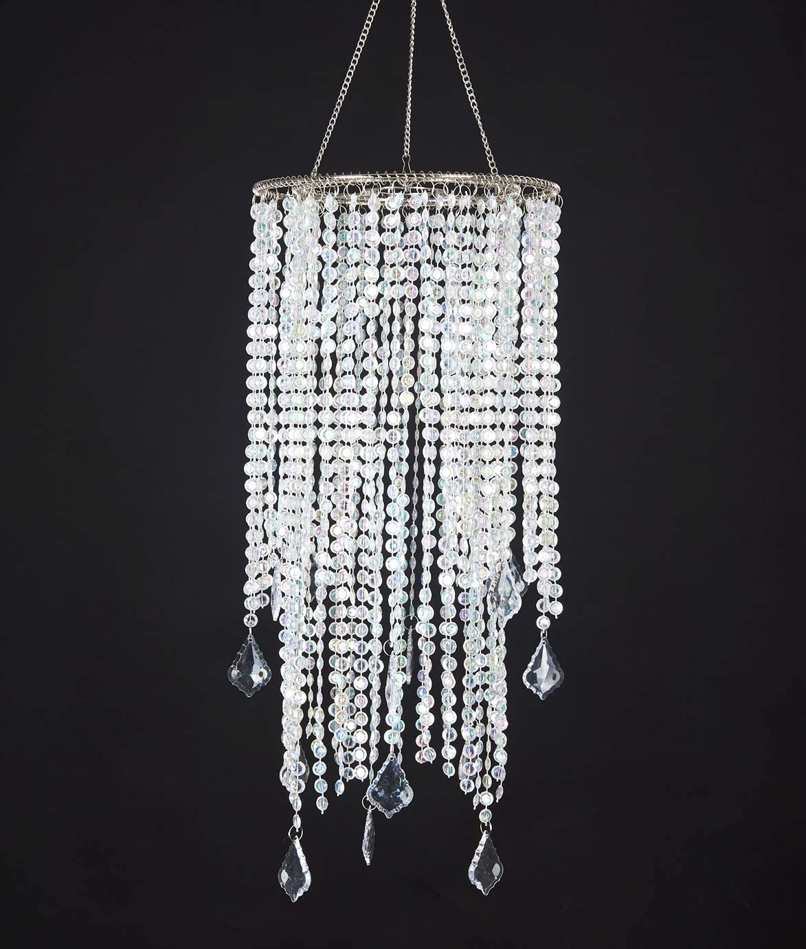 """2 Tiers Sparkling Iridescent Acrylic Beaded Hanging Chandelier, W8.5"""" X H20.5"""", Great idea for Wedding Chandeliers Centerpieces Decorations and any Event Party Home Decor - -"""