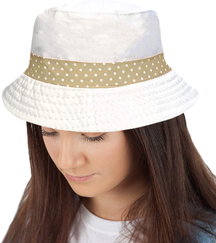 Gepunkteter Sonnenhut aus Baumwolle f/ür Damen beidseitig tragbar Fischerhutdesign reversibel TOSKATOK/® UPF 50