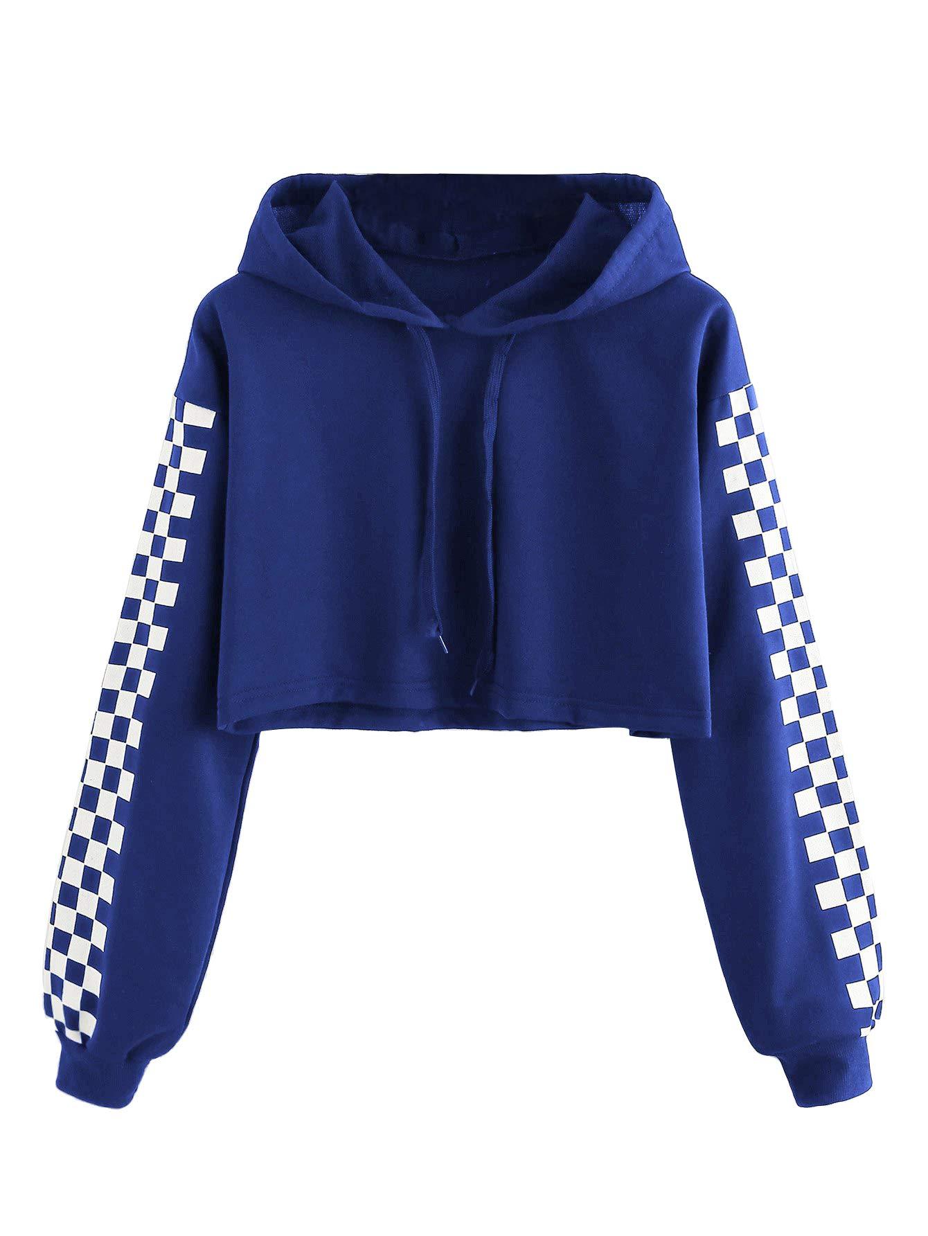 MakeMeChic Women's Pineapple Embroidered Hoodie Plaid Crop Top Sweatshirt Royal Blue L