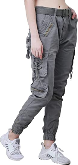 e1ddacdc21151 Meoby Women's Dori Style Cotton Dark Grey Relaxed Fit Cargo Pants