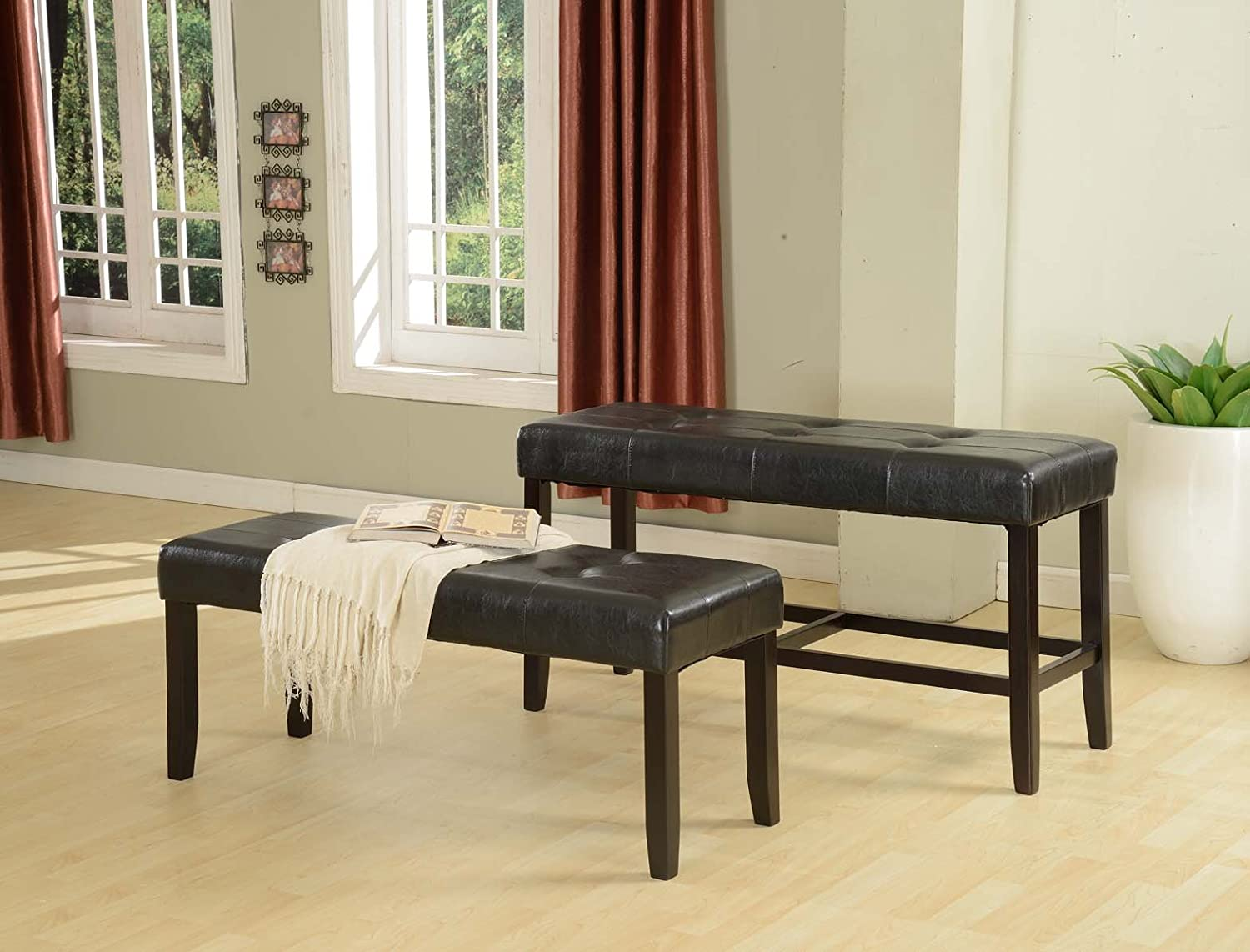 Amazon.com   Roundhill Furniture Recco Espresso Bonded Leather Dining Bench,  19 Inch   Table Benches