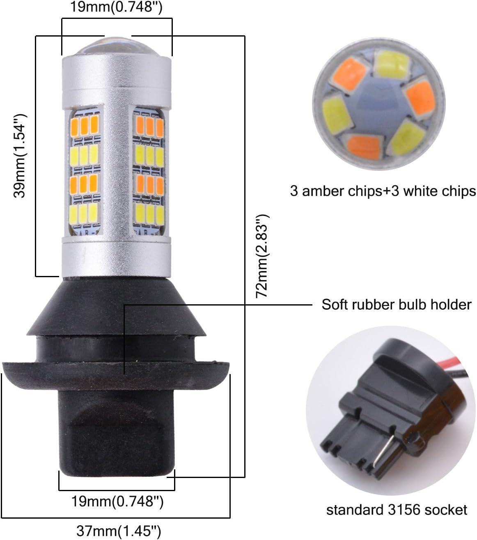 /ámbar Switchback LED Luz de se/ñal de giro Canbus sin errores con resistencias de carga de 50W 6ohm KaTur 1156 BAU15S 7507 PY21W 1056 5009 Blanco paquete de 2