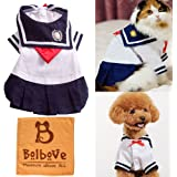 Bro'Bear Pet Navy Uniform Cats & Small Dogs Sailor Dress with Red Bowknot
