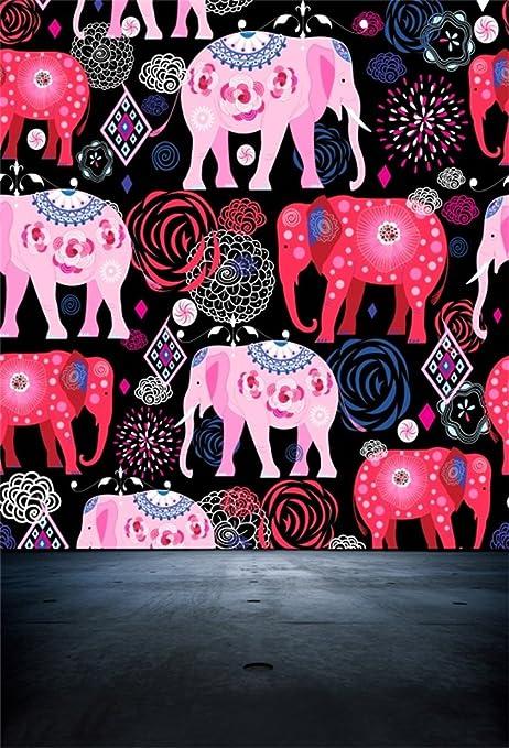 AOFOTO 6x8ft Painted Colorful Elephants Backdrop Ethnic Style Photography Background Kid Baby Girl Child Infant Artistic