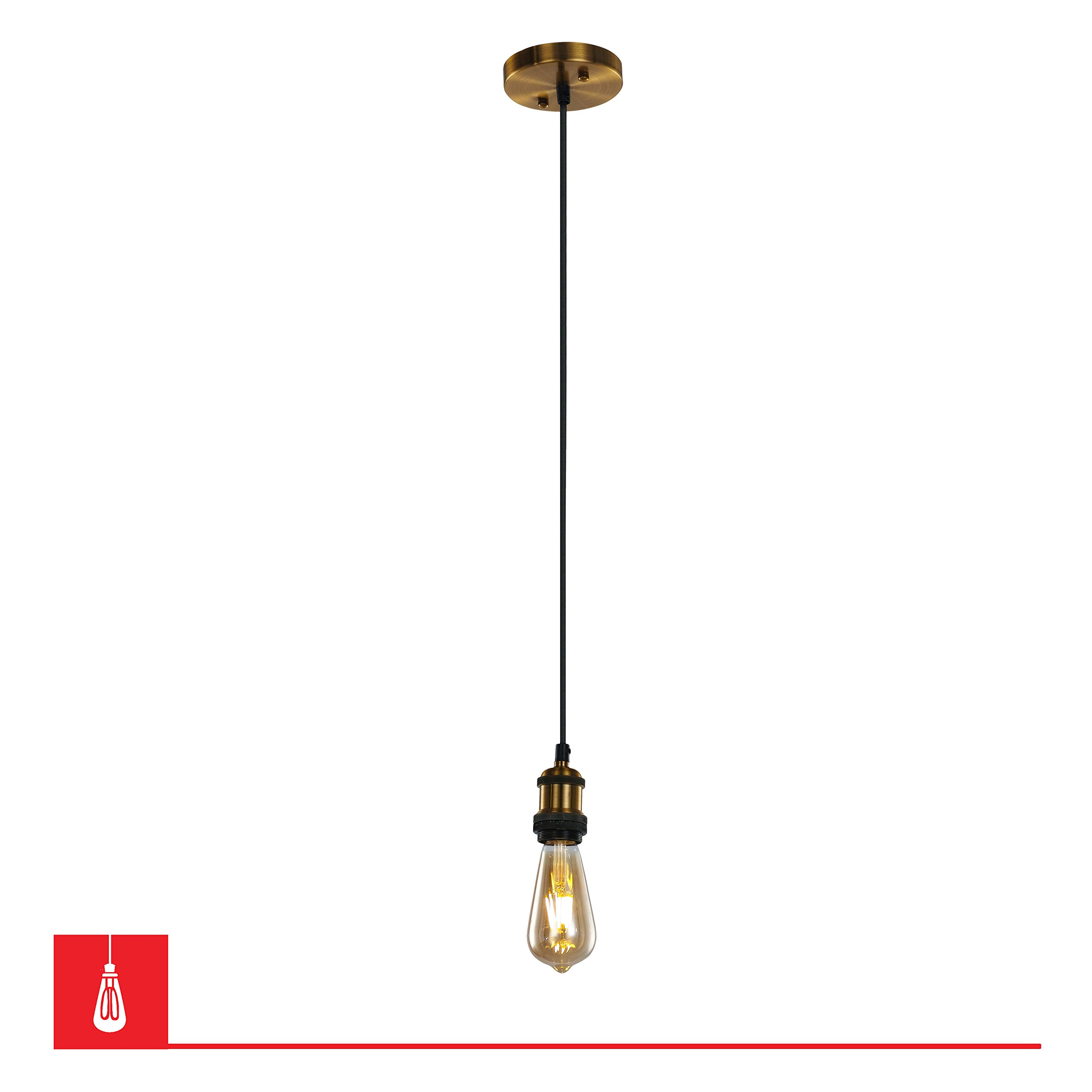 Stayton Single Bulb Pendant Fixture with Black Braided Cable – Antique Brass