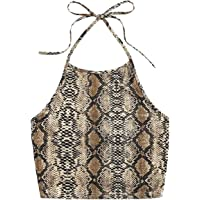 Romwe Women's Casual Snakeskin Print Sleeveless Vest Halter Cami Crop Top Multicolor S