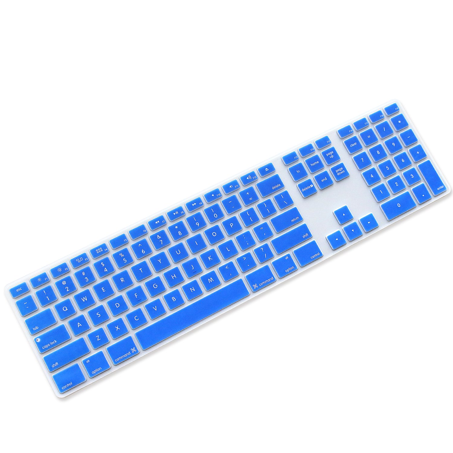 Semi-transparent Clear ProElife Ultra Thin Silicone Full Size Wireless Bluetooth Numeric Keyboard Cover Skin for 2017 Released Apple iMac Magic Keyboard with Numeric Keypad MQ052LL//A A1843 US Layout