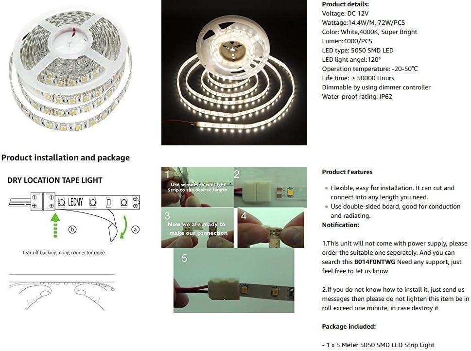 Alilighting 12V 16.4-Feet 5 Meter IP62 Waterproof LED Strip Lights 4000K Daylight White KINGLUX IP62-3528-NW