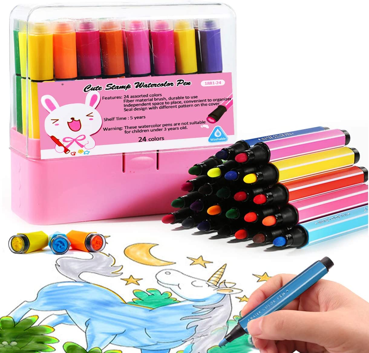 Amazon Com Magicdo Washable Markers For Kids Non Toxic Colored Stamp Marker Journaling Pens 24 Colors Markers Set Brush Paint Fun Art Crafts Supplies For Toddlers Preschoolers Toys Games