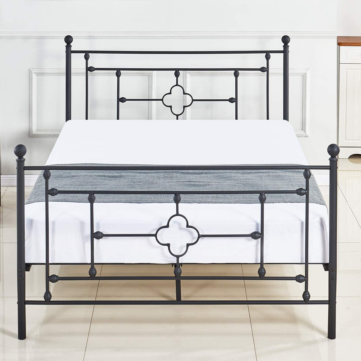 DIKAPA Metal Bed Platform Full Size Frame with Headboard No Boxspring Needed Mattress Foundation Box Spring Replacement Premium Heavy Steel Tube Support