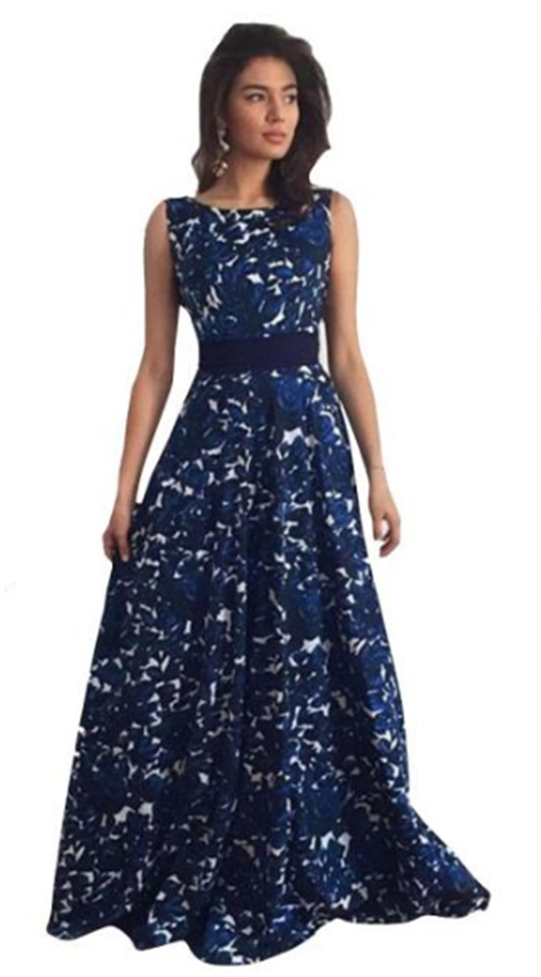 Women Long Dress Daoroka Sexy Vintage Backless Sleeveless Floral Evening Prom Gown Party Skirt Cocktail Casual Sundress (L, Blue)