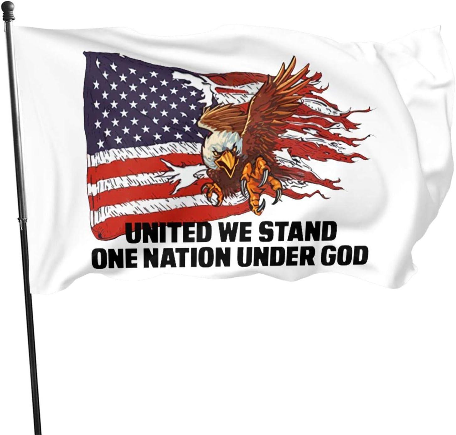 United We Stand One Nation Under God Flag 3' X 5' Indoor Outdoor Banner Home Garden Decoration One Side: Home & Kitchen
