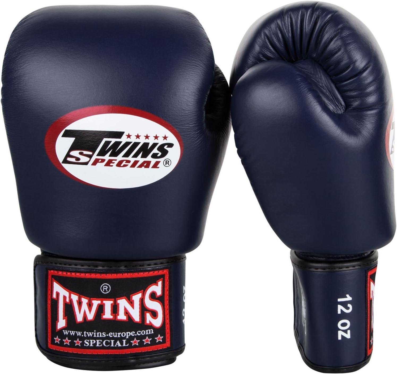Twins キック ボクシンググローブ 本革製 12 オンス ネイビーブルー Nevy 青