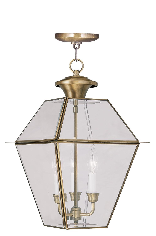 Livex Lighting 2385-01 Westover 3-Light Outdoor Hanging Lantern, Antique Brass
