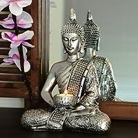 Buddha Statua colore argento con portacandele grande 26cm