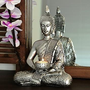 Buddha Statue Dekoration Wohnzimmer 26cm (silber): Amazon.de: Küche ...