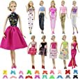 ZITA ELEMENT 20 Piezas Ropa y Zapatos para Muñeca Barbie - 10 Piezas Ropa para Barbie Fashionista Hecha a Mano y 10 Pares de Zapatos Regalo de Niña - Aleatorio