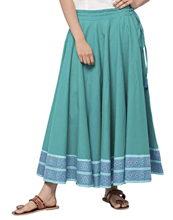 4b43c05c9 Image Unavailable. Image not available for. Color: Fabindia Cotton Ghera  Tassel Long Skirt/S