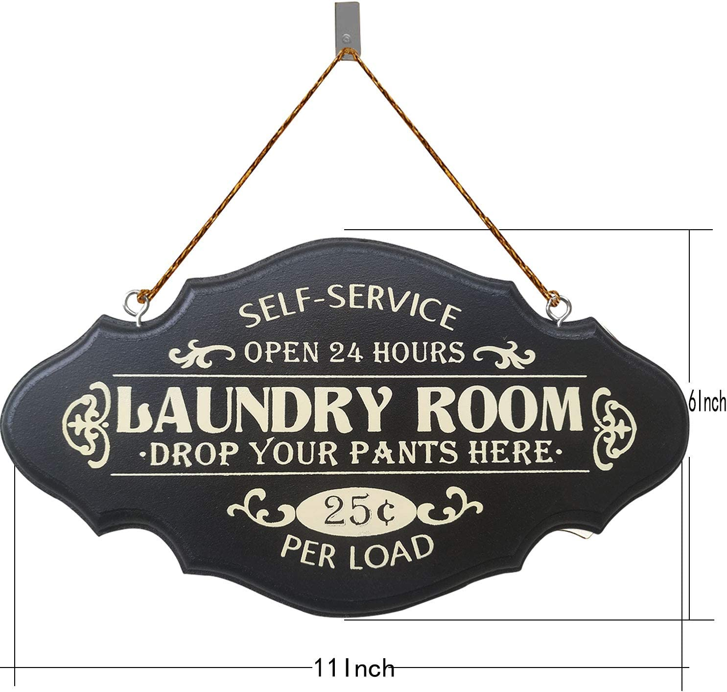 Laundry Room Decorative Painted Wooden Wall Art Sign 4x12 with burlap ribbon