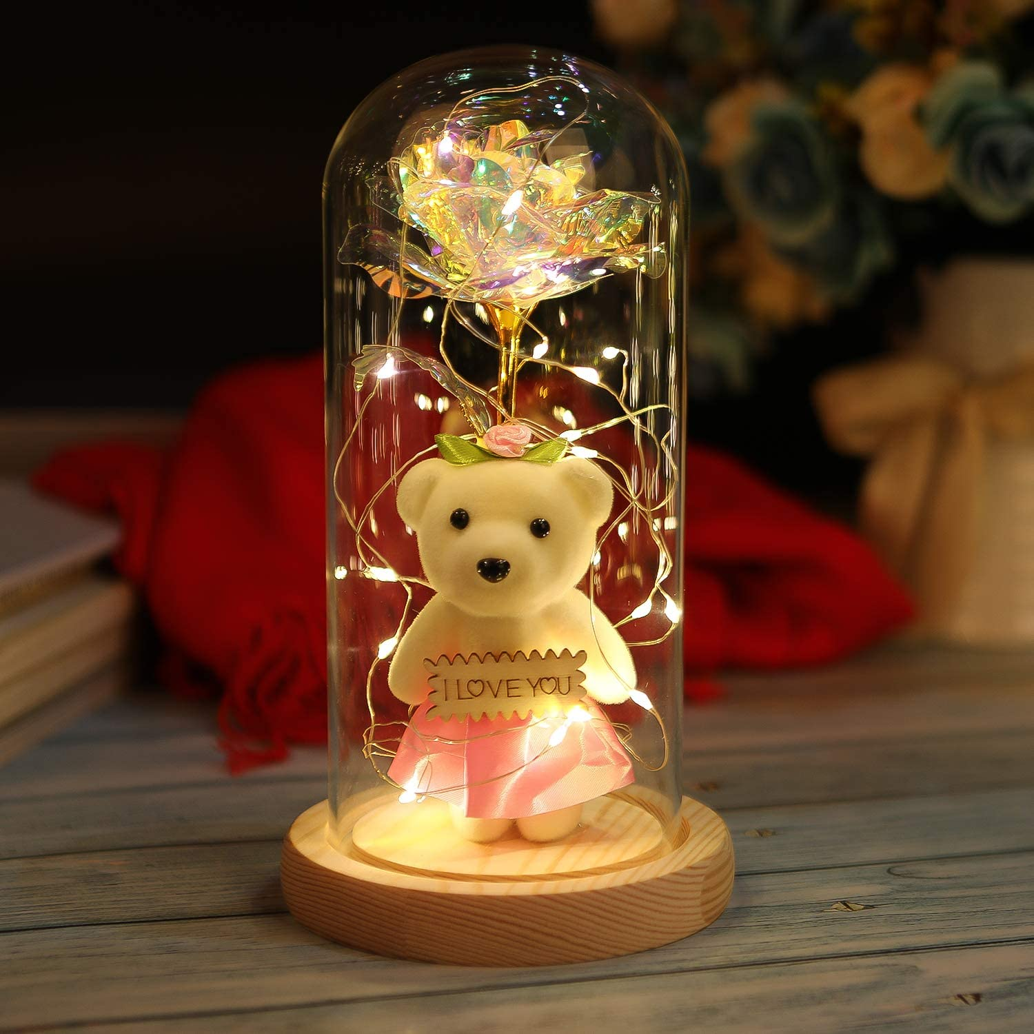 LY EMMET Colorful Gold Foil Rose and Led Light in Glass Dome Beauty and The Beast Rose Kit for Home Décor