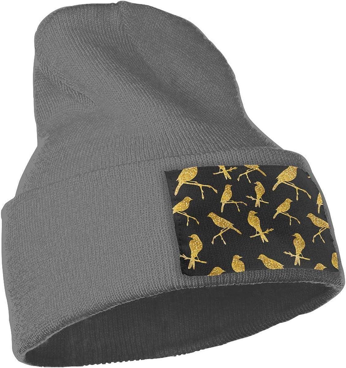Gold Birds Beanie Hat Winter Solid Warm Knit Unisex Ski Skull Cap