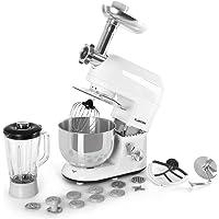 Klarstein Lucia Robot de cocina universal - Batidora Amasadora Picadora Licuadora, 5 L, Batido planetario, Cabezal para pasta