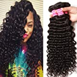 Donmily 7A Grade Brazilian Hair Deep Wave Virgin Human Hair Brazilian Curly Hair Weave 3 Bundles Unprocessed Natural Hair Extensions