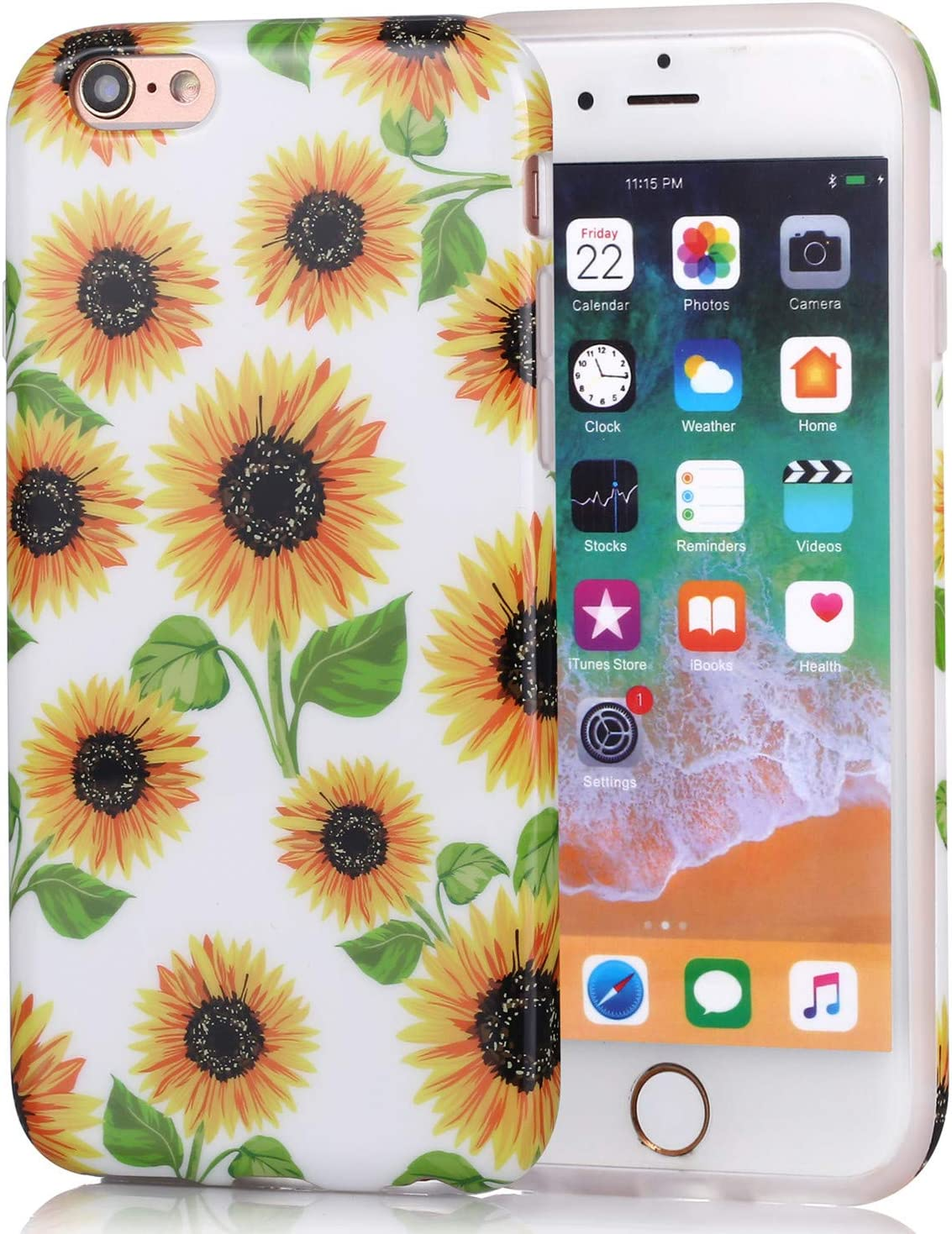 Amazon Com Iphone 6 Plus Case Girls Floral Design Glossy Tpu Soft
