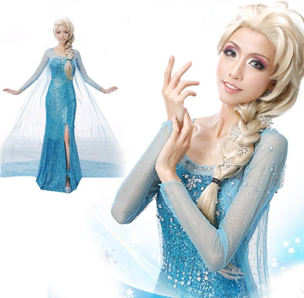 Blue, XS Elegant Frozen Elsa Ice Queen Prom Dresses Skirt Cosplay Costume Fancy Dresses for Party Maxi Dress for Women