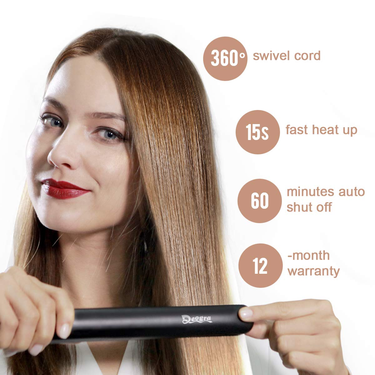 Professional Hair Straightener and Curler 2 in 1 - Titanium Flat Iron Salon