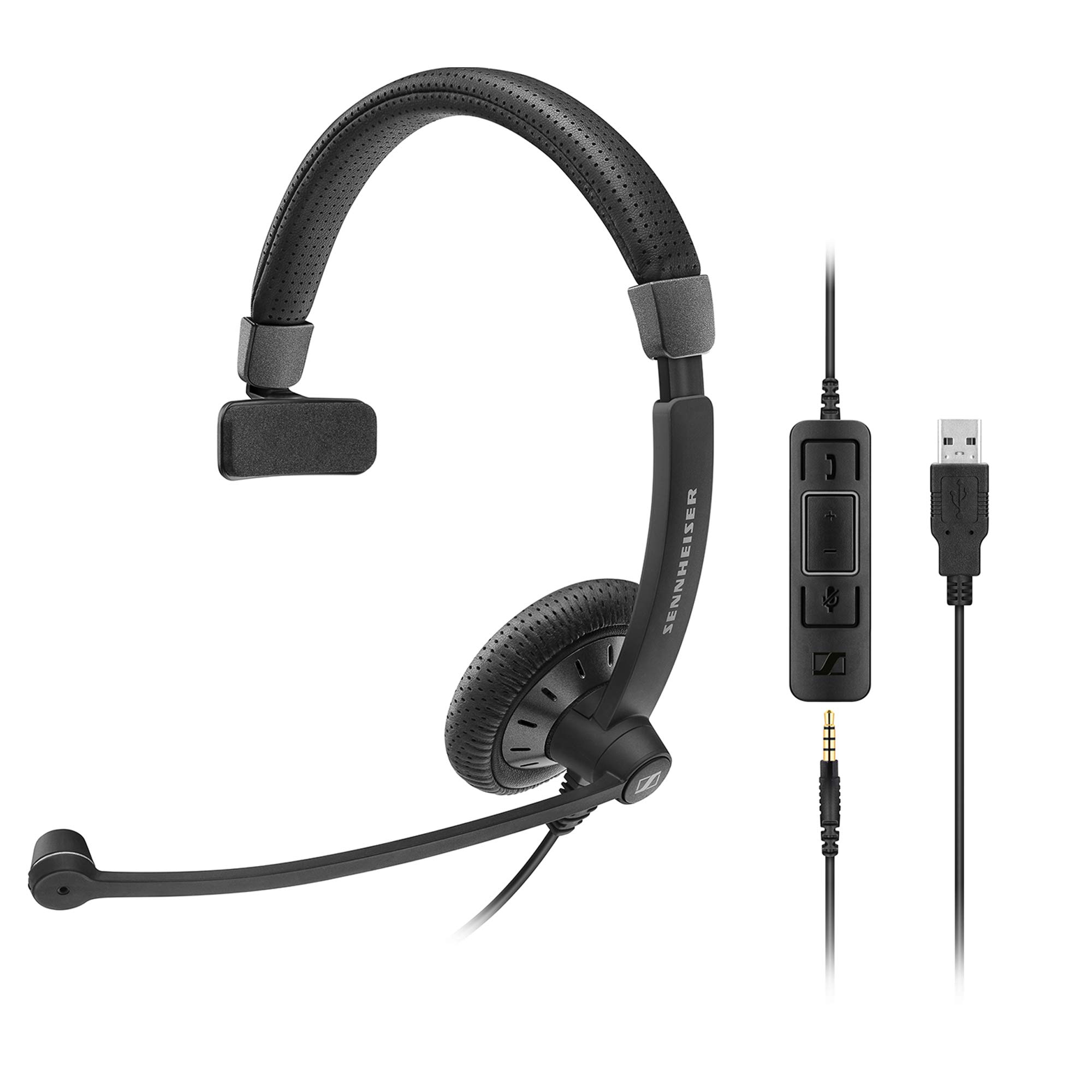 Sennheiser SC 45 USB MS (507083) - Single-Sided Business Headset | For Skype for Business, Mobile Phone, Tablet, Softphone, and PC | HD Sound & Noise-Cancelling Microphone (Black) by Sennheiser Enterprise Solution