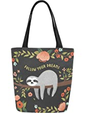 InterestPrint Cute Sloth with Inspirational Quote Canvas Tote Bag Shoulder Handbag for Women Girls