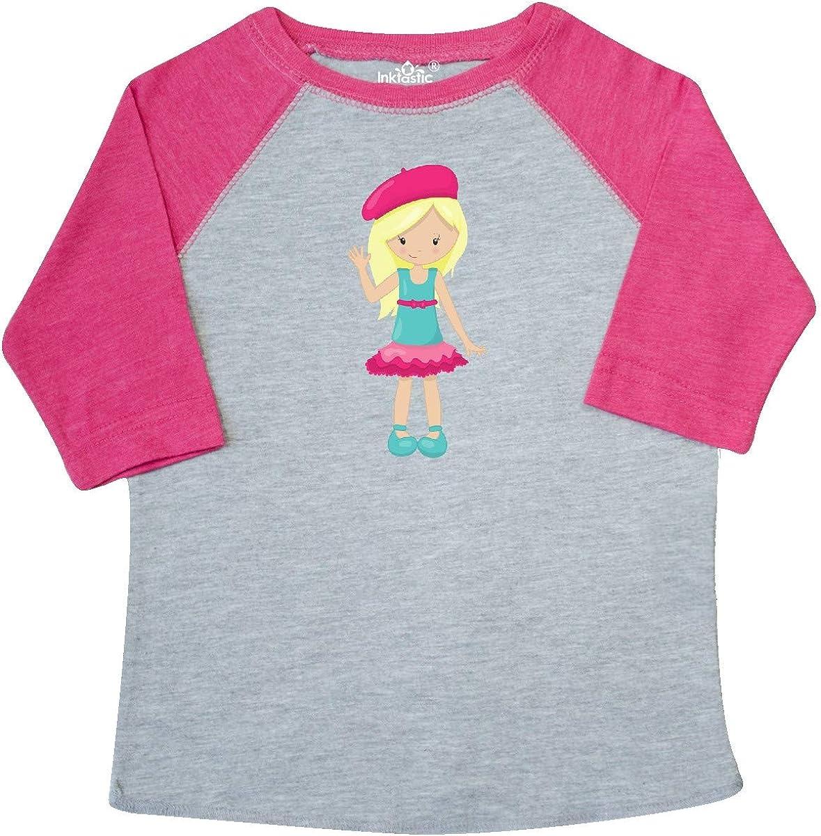 inktastic French Girl Fashion Girl Blonde Hair Beret Toddler T-Shirt