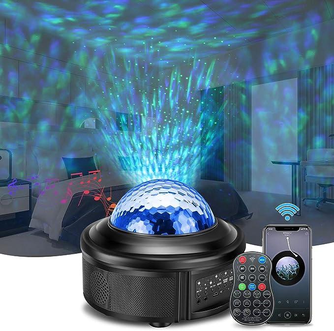 Cadeau Unique SOLMORE LED Projecteur /Étoile avez 21 Modes Lampe Projecteur de Rotatif Nuage Luminosit/é R/églable avec Haut-Parleur Bluetooth//T/él/écommande//Minuterie Projecteur /Étoiles Rotatif