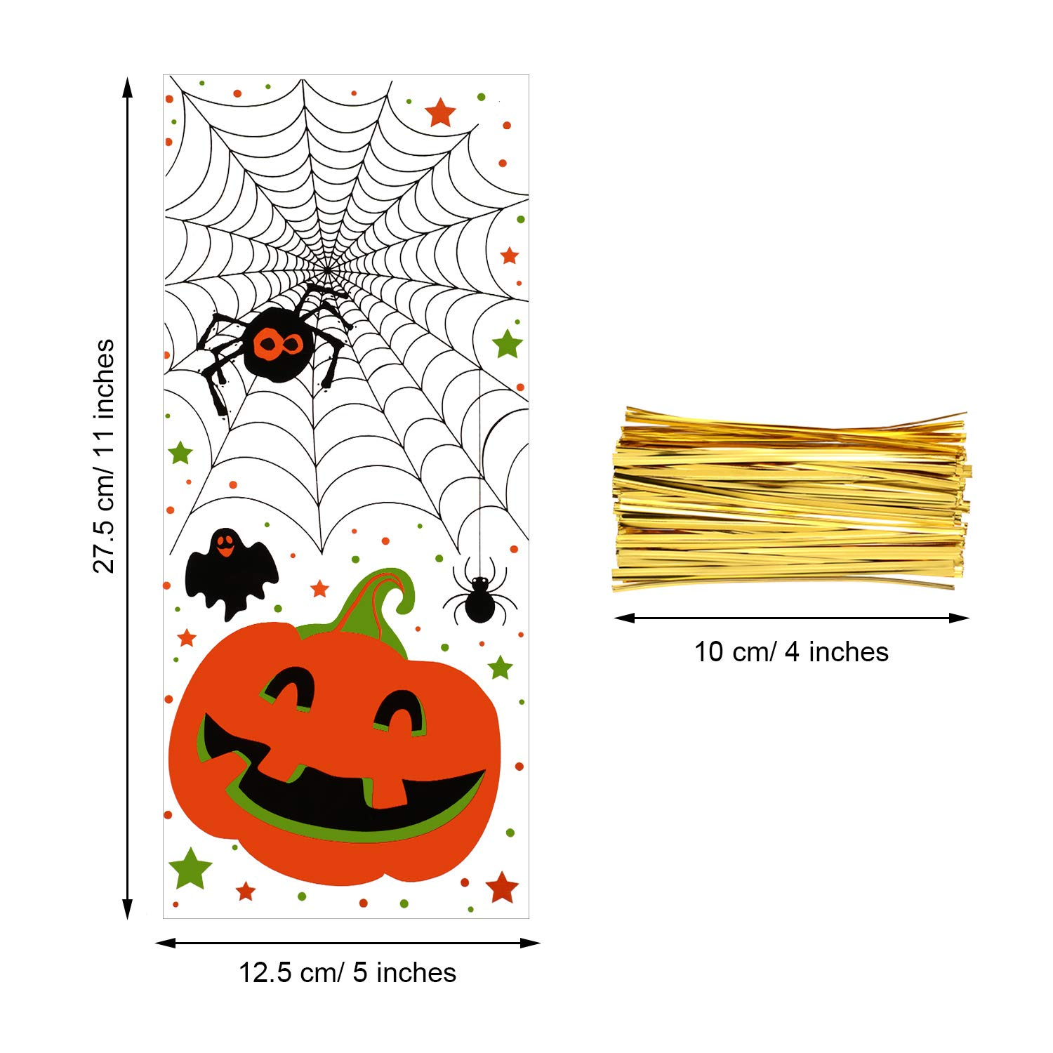 Boao 100 Pieces Cellophane Bags Halloween Christmas Treat Bags Clear Goodies Bags with 150 Pieces Twist Ties for Party Supplies (Style 14)