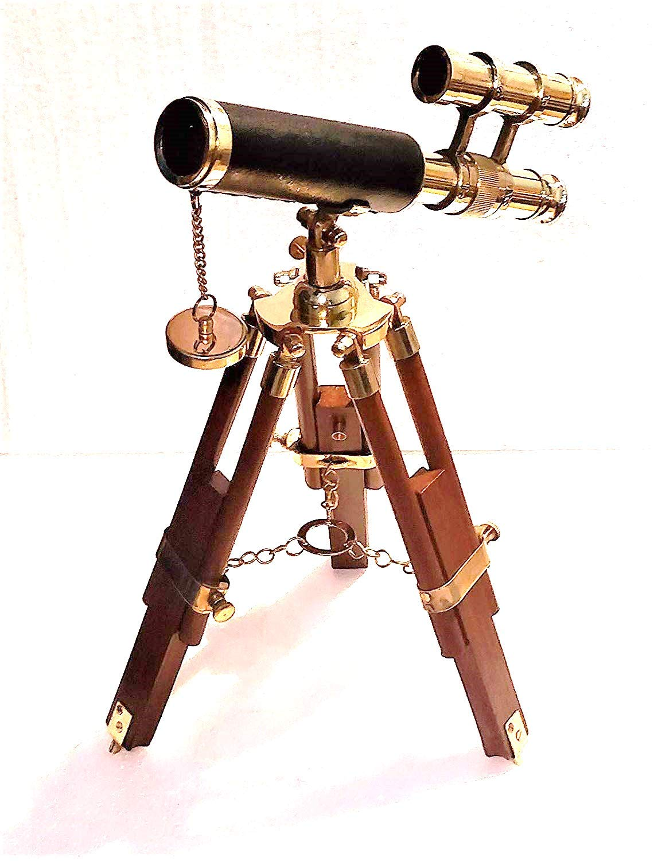 Decor Hunt Vintage Nautical 16'' Double Barrel Brass Telescope with Wood Tripod